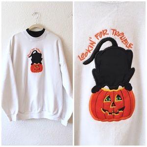 Vintage 90s Halloween Sweatshirt Sweater L